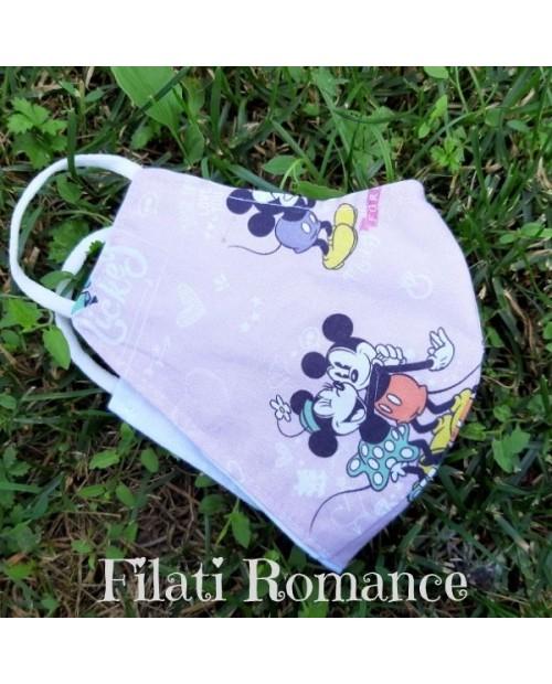 Mascherina per bimba tessuti Disney: Topolina abbraccia Topolino