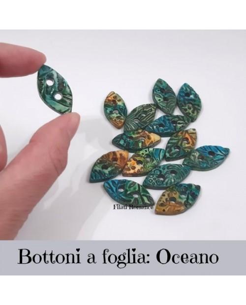 Bottoni artigianali a forma di foglia da 30 mm x 15 mm