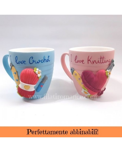 Maxi - Mug decorata a tema uncinetto/maglia/filati