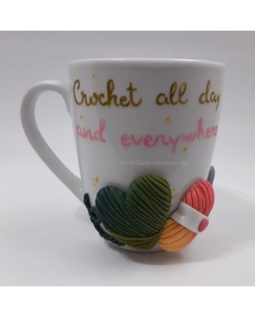 Mug decorata Crochet all day and everywhere