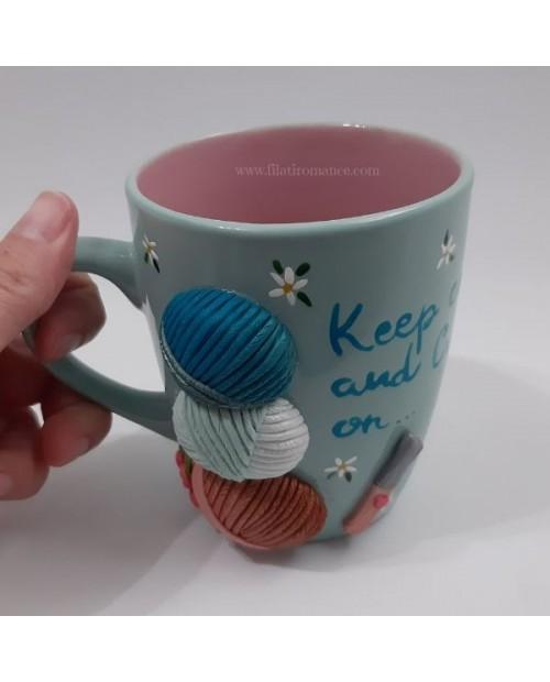 Mug decorata con margherite