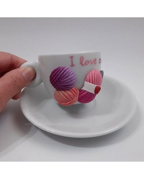 Tazzina da caffè con piattino I love crochet rosa