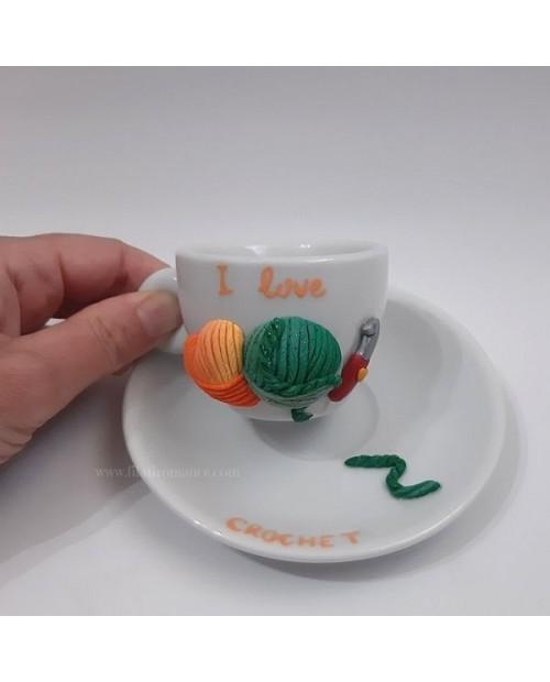Tazzina da caffè con piattino I love crochet verde