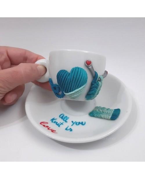 Tazzina da caffè con piattino All you knit is love