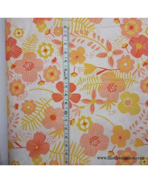Tessuto Popeline Jumbo Flowers in 100% cotone