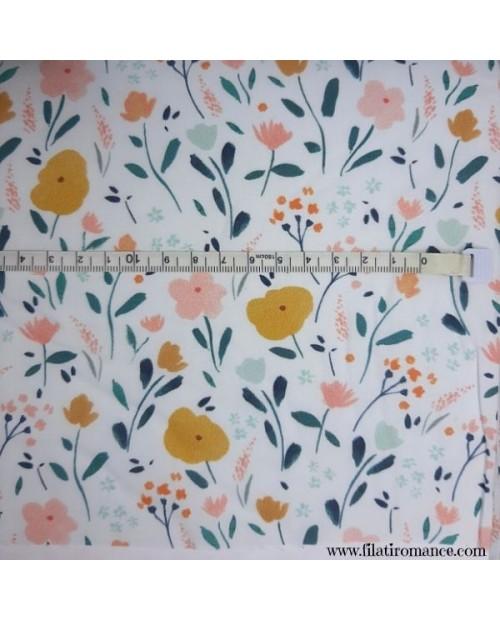 Tessuto Popeline P79 Little Rat Flowers