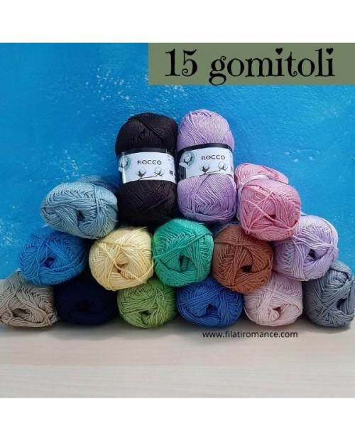 15 gomitoli di vari colori cotone Fiocco