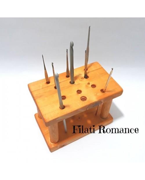 Porta uncinetti in legno - Organizzer da tavolo