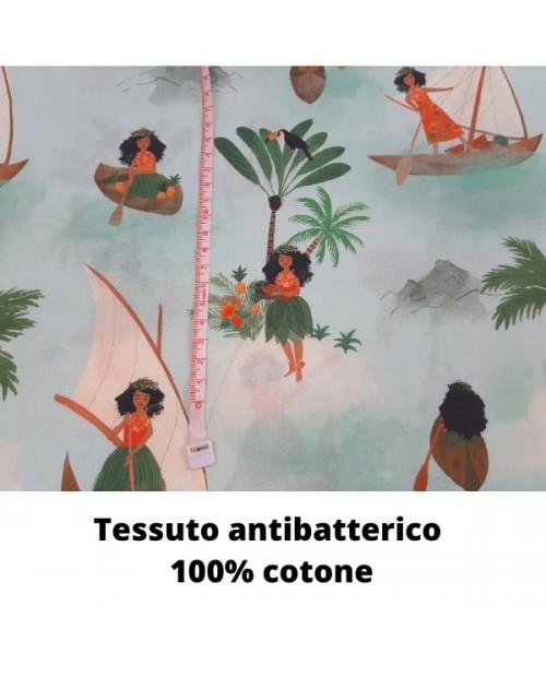 Tessuto antibatterico in 100% cotone: Popeline Polynesian Seafarer