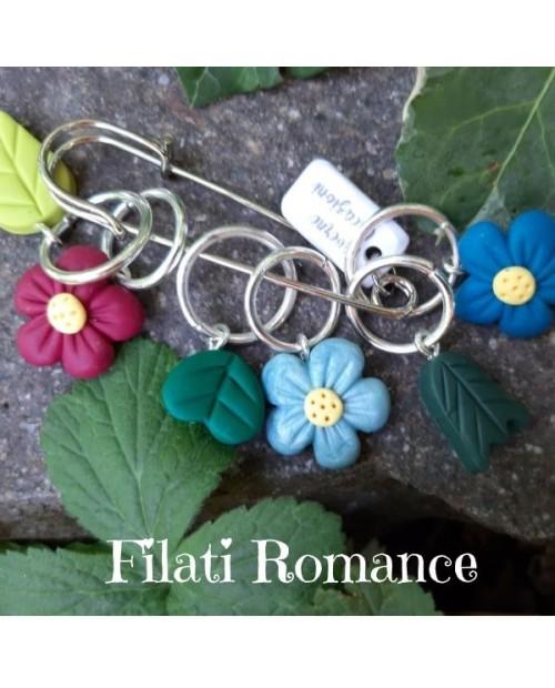 Marcapunti decorati a mano con argilla sintetica a tema filati/fiori