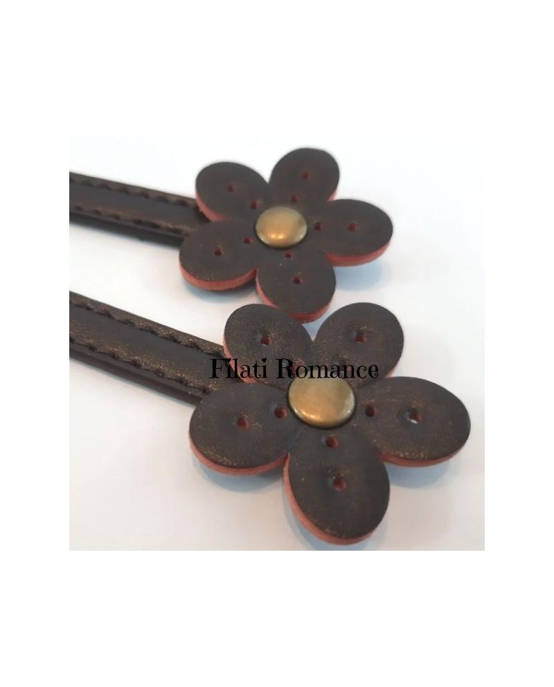 Manici in ecopelle con Fiore, lunghezza 30 cm